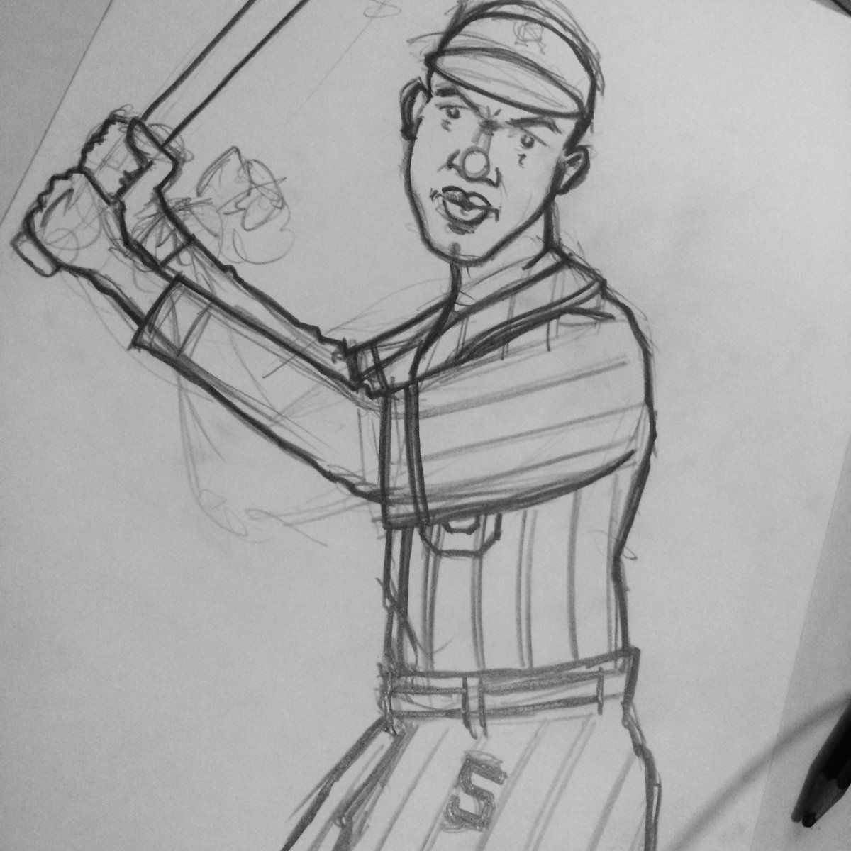 I don&#39;t often share sketches, but thought I would tonight. Here&#39;s a Jackie Robinson piece I&#39;m working on. #kansascitymonarchs #baseball <br>http://pic.twitter.com/MZnL8CosYD