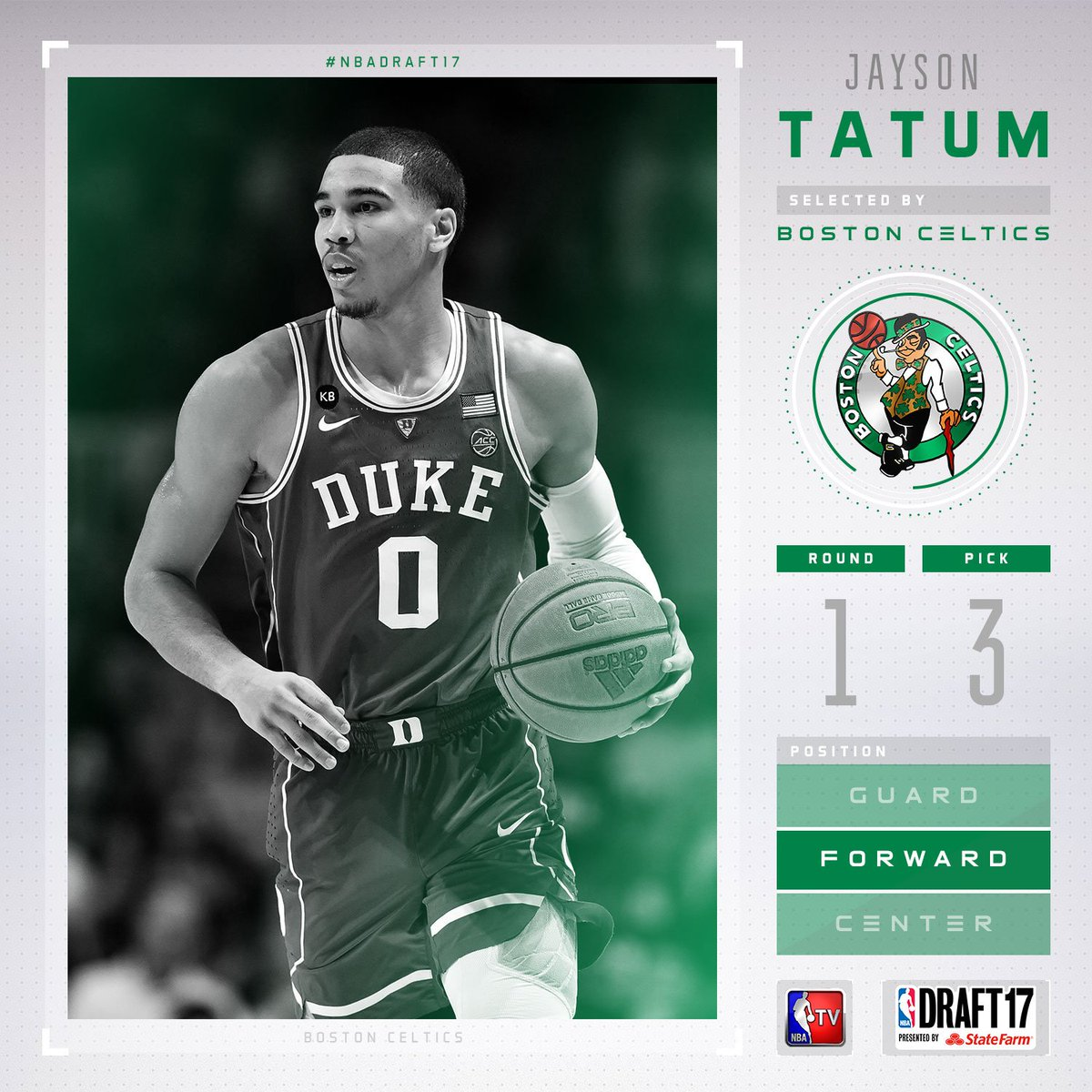 The @celtics select Jayson Tatum with the #3 pick in the 2017 #NBADraf...