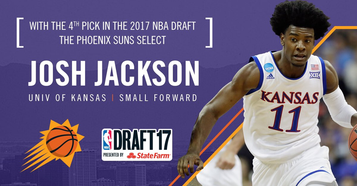 With the 4th pick, the Suns select Josh Jackson! https://t.co/KKdlBKq7...
