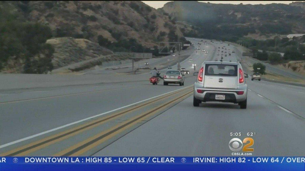 Motorcyclist kicks car and triggers chain-reaction crash near Los Angeles | Video https://t.co/zCzJXxr3wf