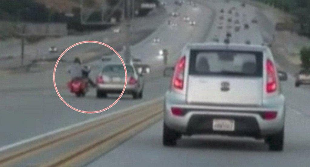 Motorcyclist kicks car in road rage incident, triggers chain-reaction crash https://t.co/SLqfePgh7x