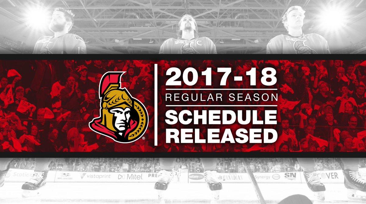 ICYMI: The #Sens 2017-18 regular season schedule was released earlier today.  NEWS RELEASE: https://t.co/yS8krLihTg