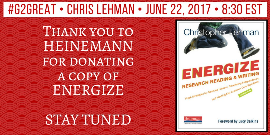 So looking forward to @iChrisLehman joining our #G2Great crew! @brennanamy @DrMaryHoward Ty @HeinemannPub for the generosity! https://t.co/8fyaMKFybt