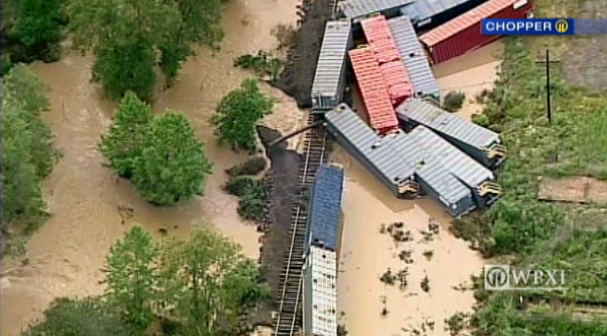 Train cars apparently knocked off tracks in Indiana County floodwaters...