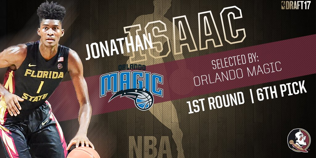 With the 6th overall pick in the 2017 @NBADraft the @OrlandoMagic select @jisaac_01 https://t.co/Etk05aHesk