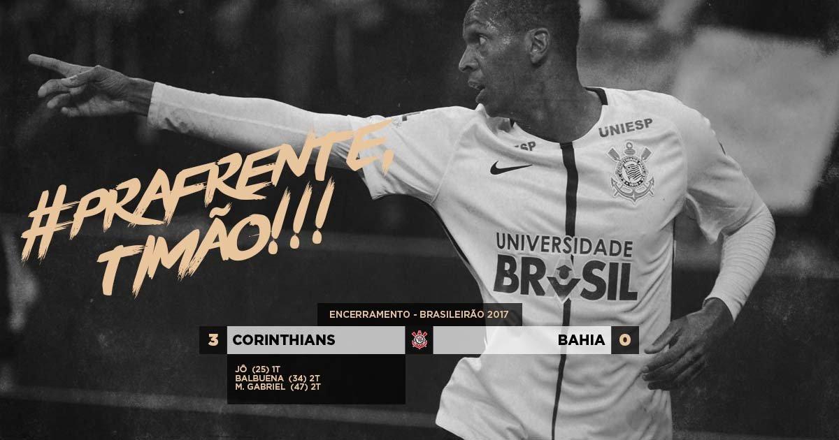 Pra frente, Timão! O foco é jogo a jogo! Hoje foi mais um! Vitória por 3 a 0 sobre o Bahia, a sétima no Brasileirão, e liderança garantida!