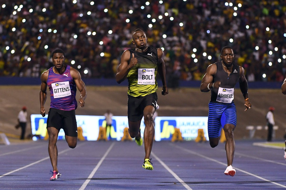 Usain Bolt says goodbye. His final 100m in Jamaica. (AFP)