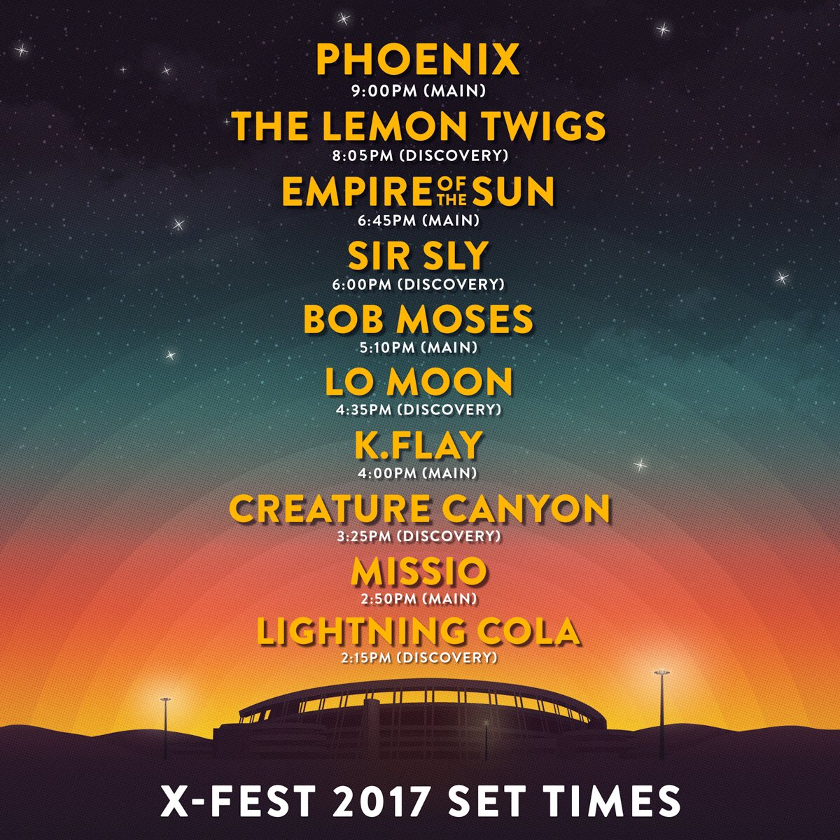 91X On Twitter The XFest Set Times Are Here Get Your