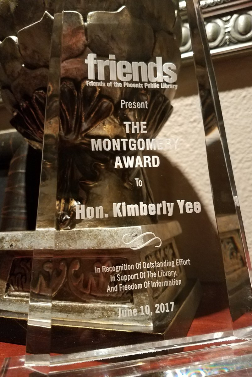 """Kimberly Yee on Twitter: """"Thank you @plfriends for the 2017 Montgomery Award recognizing my support of the Library and the First Amendment @PhxLibrary! ..."""