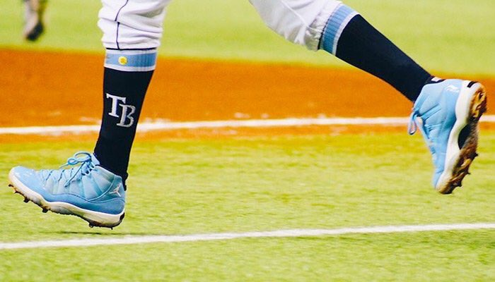 2c1b70b24fcf19 pantone air jordan 11 custom baseball cleats on the feet of tbeckham1 mlb