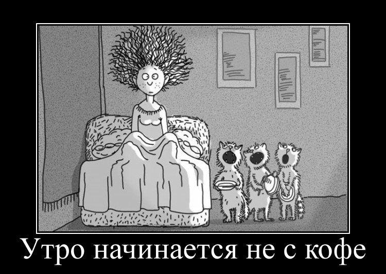 Утро начинается не с кофе смешные картинки, анимация