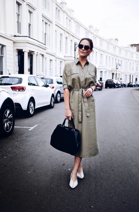 Utilitarian ENLIST Khaki Shirt Dress styled by Fashion blogger LAFOTKA
