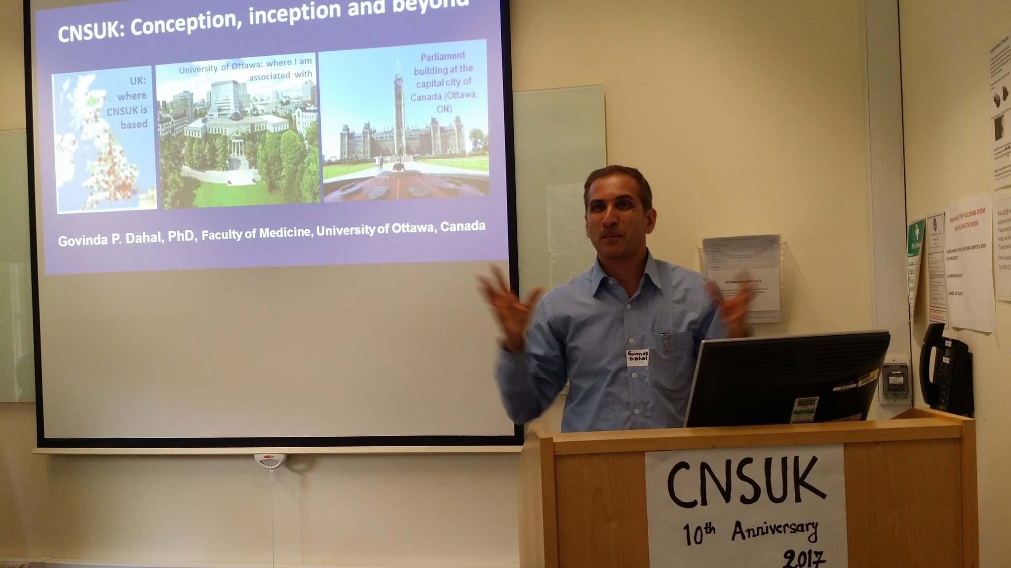 Now Dr Govinda Dahal presenting on CNSUK: Conception, inception and beyond #CNSUK10 https://t.co/hX3sS9Dy9R