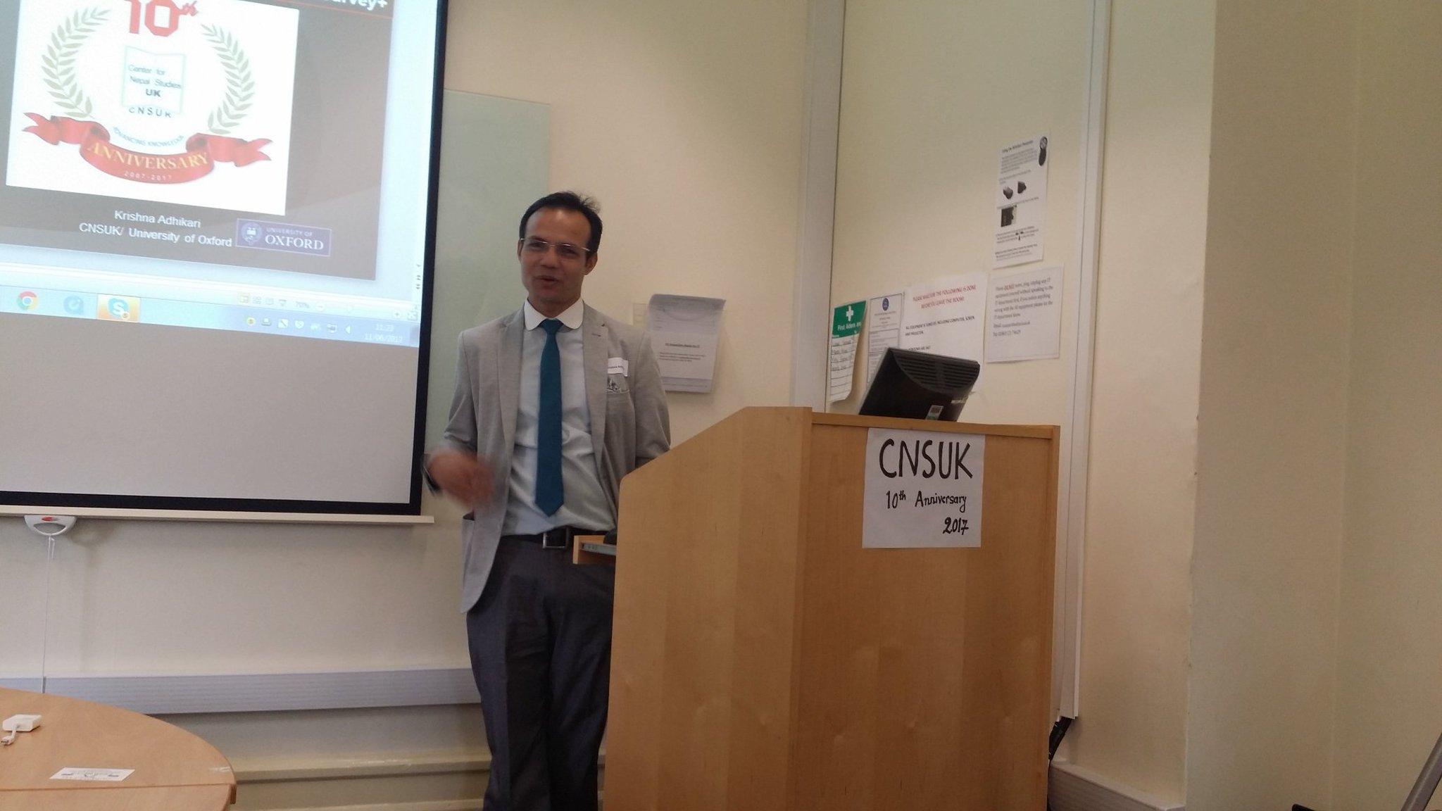 Dr Krishna Adhikari presenting on Nepalis in the UK #CNSUK10 https://t.co/ihpKVjlY2v