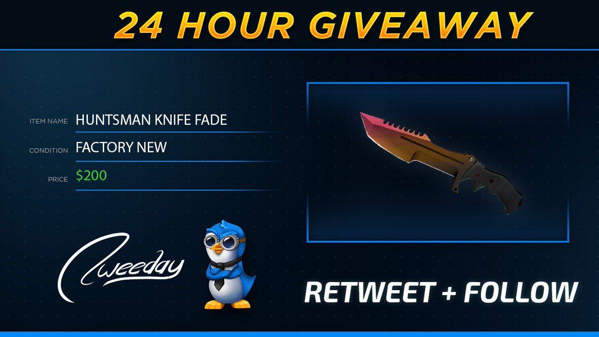 *24 HOUR GIVEAWAY* Huntsman Knife Fade (Factory New)  RT / FAV / FOLLOW Enter here via gleam: https://goo.gl/8NRtAq  GLHF 🙃