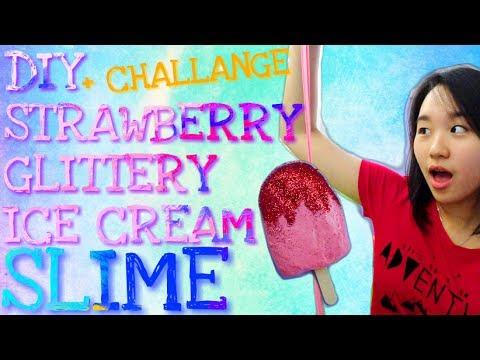 DIY STRAWBERRY GLITTERY SLIME + CHALLANGE !!! #DIYslimewithLJ [INDONESIA]