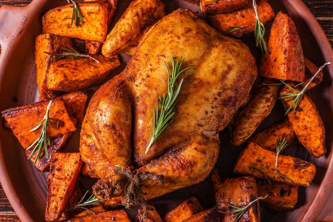 Whole 30 Baked Paprika Whole Chicken & Sweet Potatoes