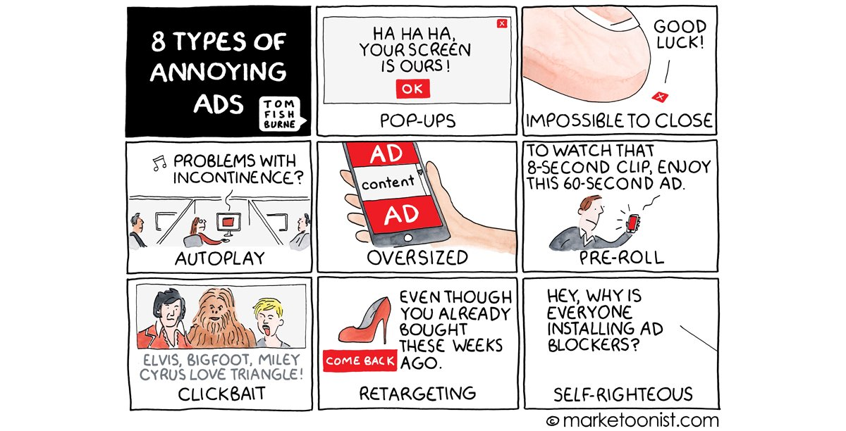 """8 Types of Annoying Ads"" - new cartoon and post on the rise of Ad Blockers https://t.co/mXdSVJ820K https://t.co/UlAKF29fYV"
