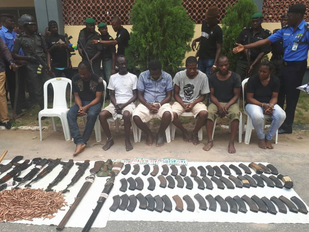 Parade of most wanted, vicious, highly notorious kidnap for ransom gang leader Chukwudi Dumeme Onuamadike a.k.a Evans and six (6) of his commanders
