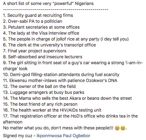 Hilarious list of very powerful Nigerians