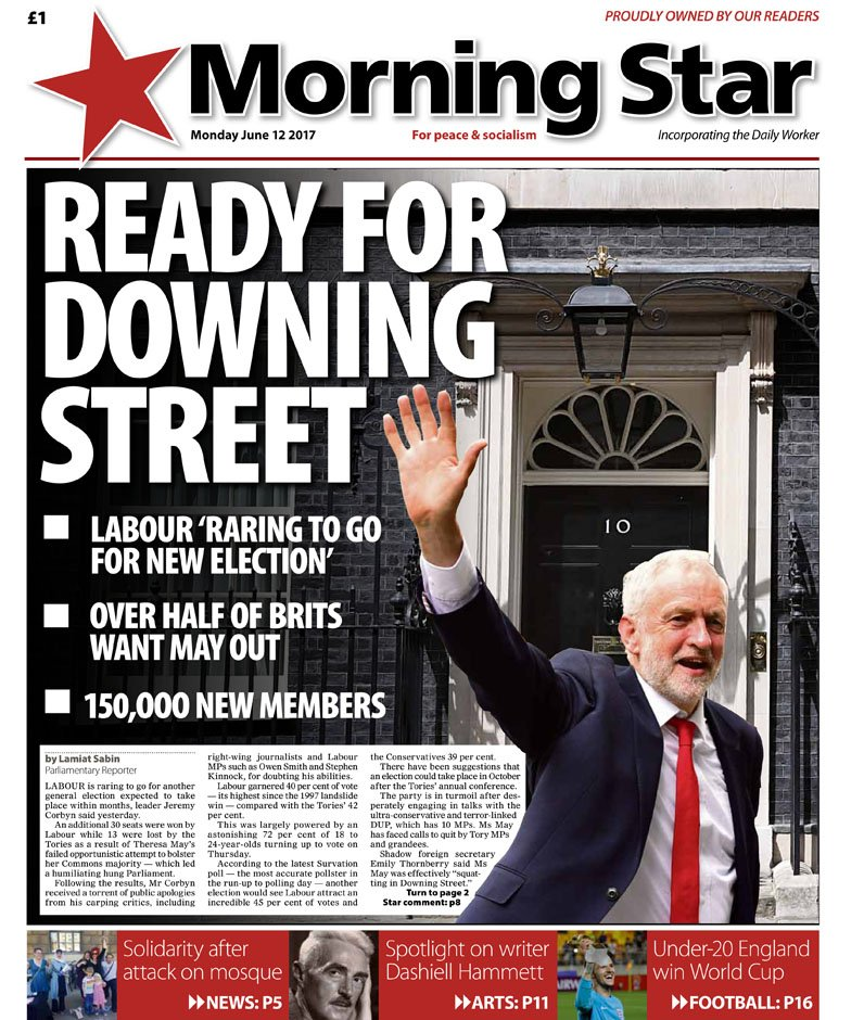 Monday's front: Ready for Downing Street #Corbyn #Labour https://t.co/kOto7dOhdg