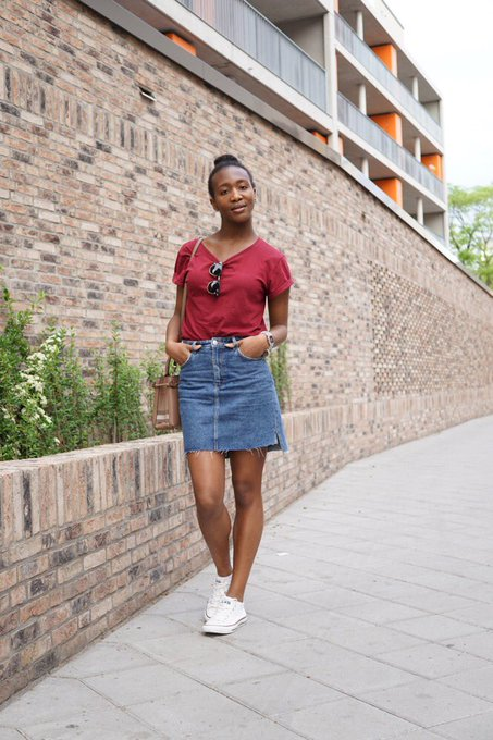 Personal Style: Red T-shirt with trendy Jeans Skirt