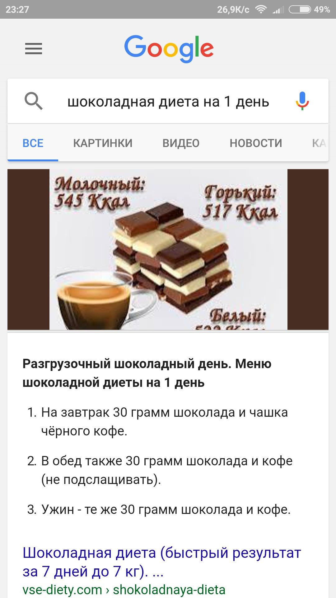 Меню Диеты Шоколадной.