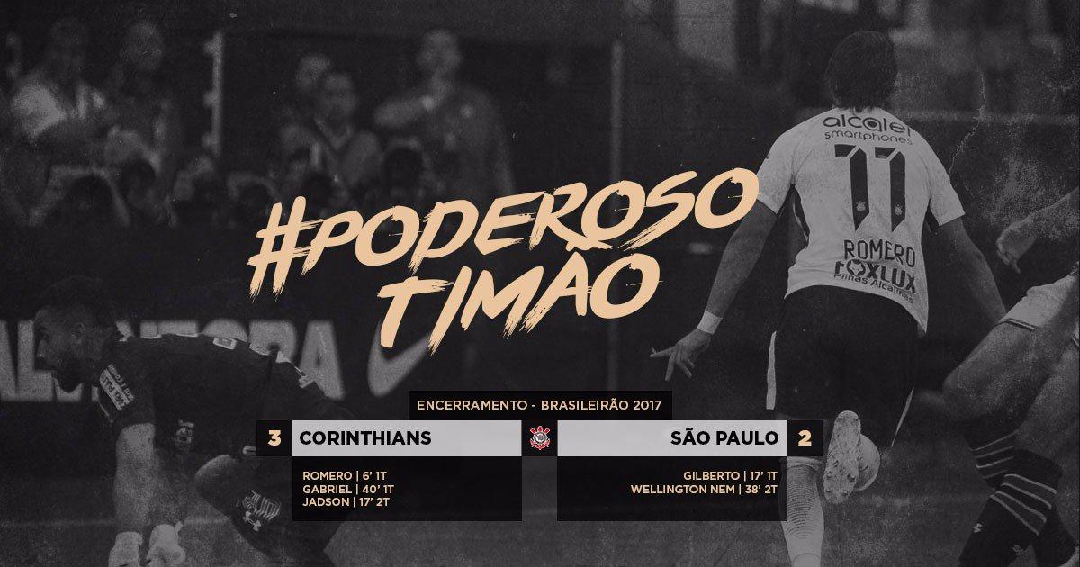 #PoderosoTimão  Com oito gols em dois jogos, Corinthians faz 3 a 2 no São Paulo e se consolida na liderança do Brasileirão!  #VaiCorinthians