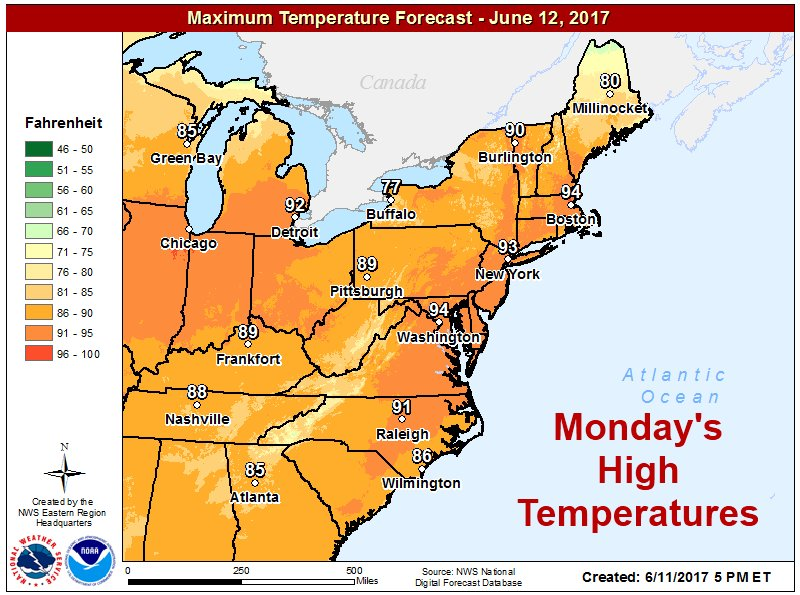 Nws Eastern Region On Twitter First Heat Wave Of The Season For Much Of The Eastern Us Is Underway Warmer And More Humid Tomorrow And Tuesday