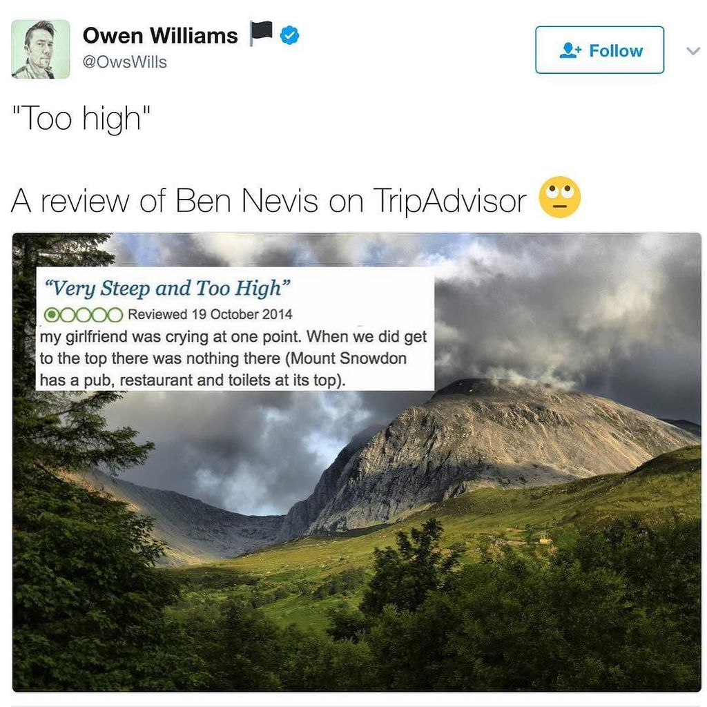 When mountains and Trip Advisor meet... https://t.co/owdjNhfNVE https://t.co/dI8NZovCYL