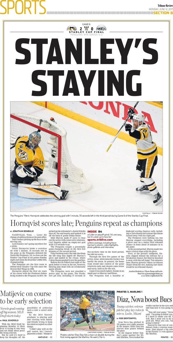 Monday's cover: The @penguins repeat as champions #StanleyCup https://t.co/BOGcDVz5zH