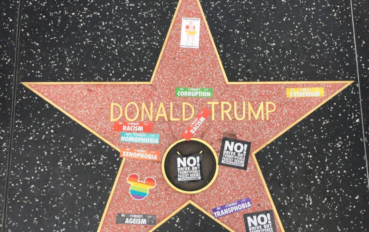 #sign of the #Times RT @thehill:#Trump&#39;s Walk of(SH)Fame star covered in&quot;#rezist&quot;stickers  http:// hill.cm/19RzskY  &nbsp;  <br>http://pic.twitter.com/AnEiVyzvZa