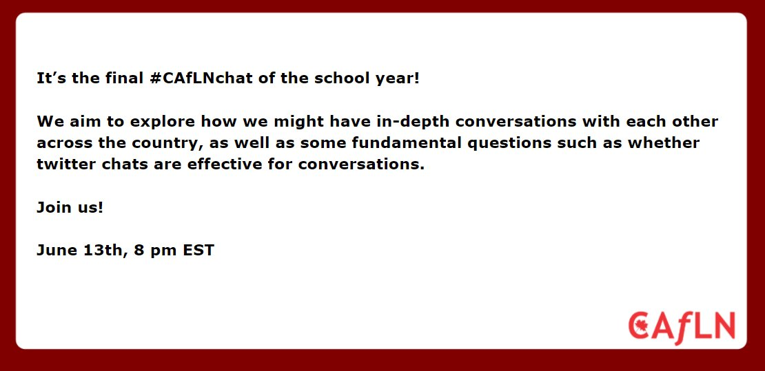 Please join in the last #caflnchat of the year on Tuesday 13th at 8 PM EDT. #CDNedchat #ONedchat #Saskedchat #PeelABC #colchat #sblchat https://t.co/SWJoqa4RRw