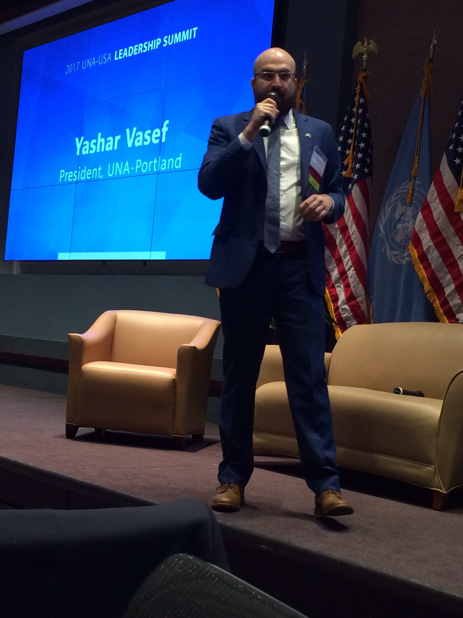Yashar Vasef of UNA Portland at #USAForUN Summit shares his story of coming to own his cultural heritage of being an Iranian refugee. https://t.co/BdqzfeVEB8