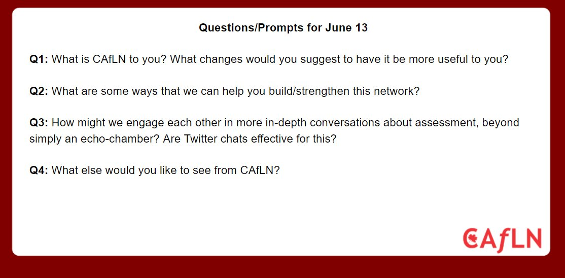 Here are the questions for the last #caflnchat of 2016/17 school year at 8 PM EDT on June 13th. #ONedchat #cdnedchat @caflnedchat #peelABC https://t.co/DUQ7tmck8B