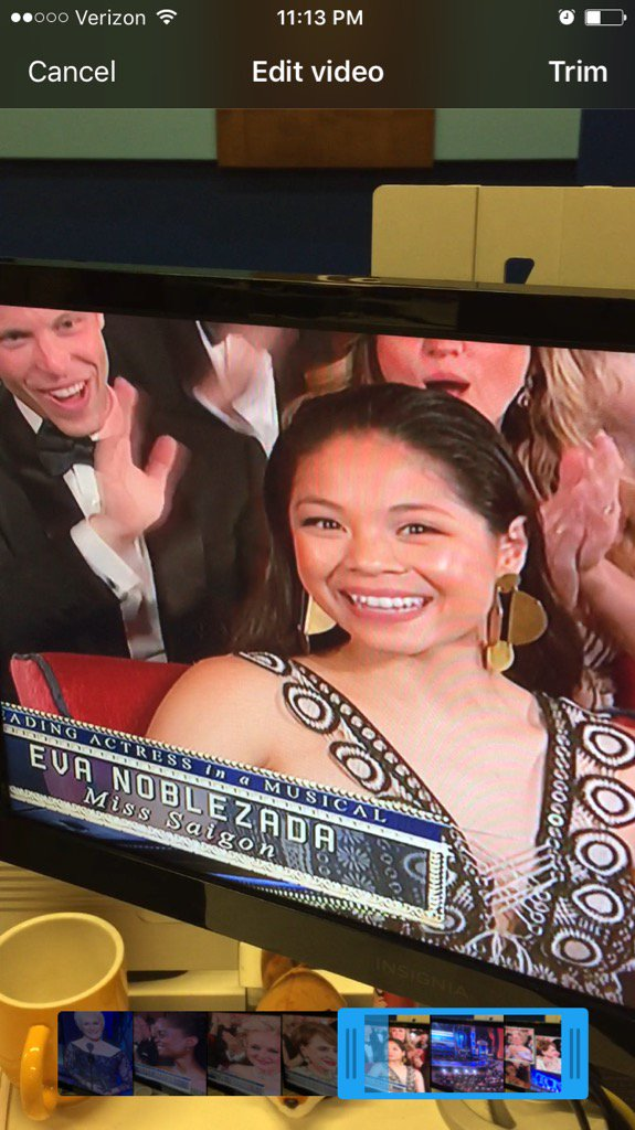 No #Tony for Charlotte's @EvaNoblezada in #MissSaigon, but what an honor. Losing to #TheBetteMidler, not bad.
