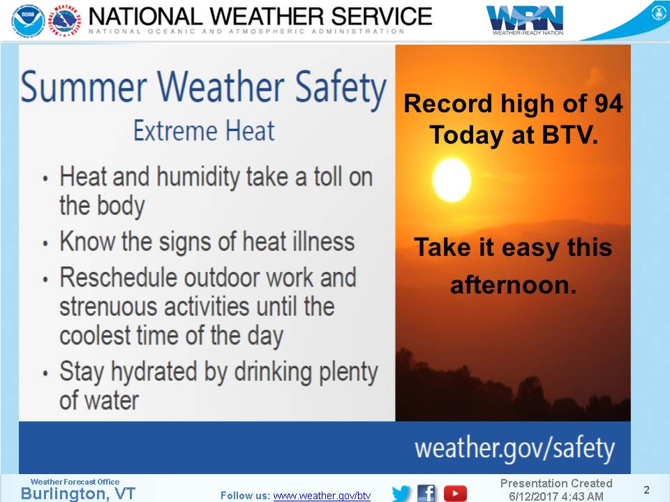 Nws Burlington On Twitter Itll Be Another One In Burlington Vt Today With A Record High Of 94 With A Bit More Humidity Than Yesterday
