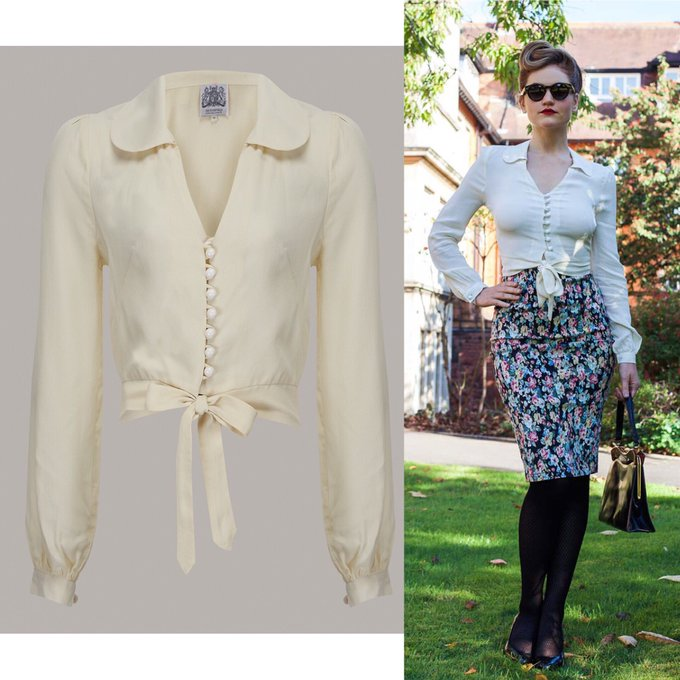 The Seamstress Of Bloomsbury Clarice Blouse |1940s vintage style crepe de chine long sleeved cream blouse