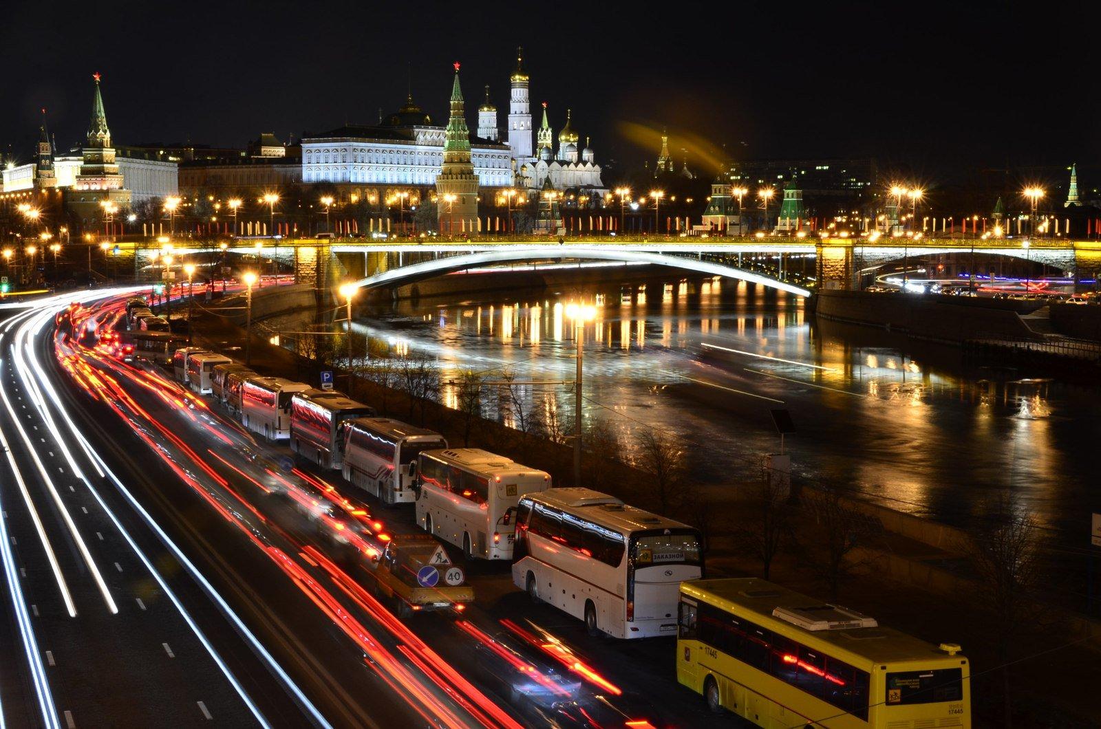 фото москва ночная дорога все