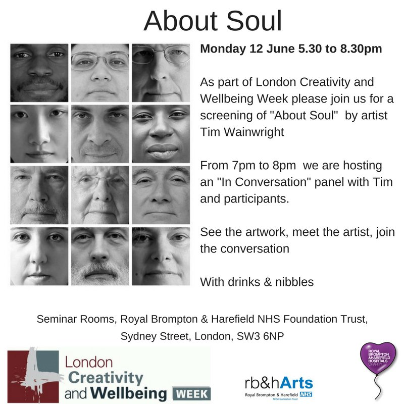Join us tonight from 5.30pm #CreativityandWellbeing #MondayMotivation @RBandH @LAHFArtsHealth Meet the artist & #AboutSoul participants pic.twitter.com/Zs3cYlYfjN