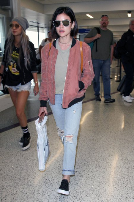Lucy Hale's Dusty Rose Bomber Jacket and Boyfriend Jeans for Less