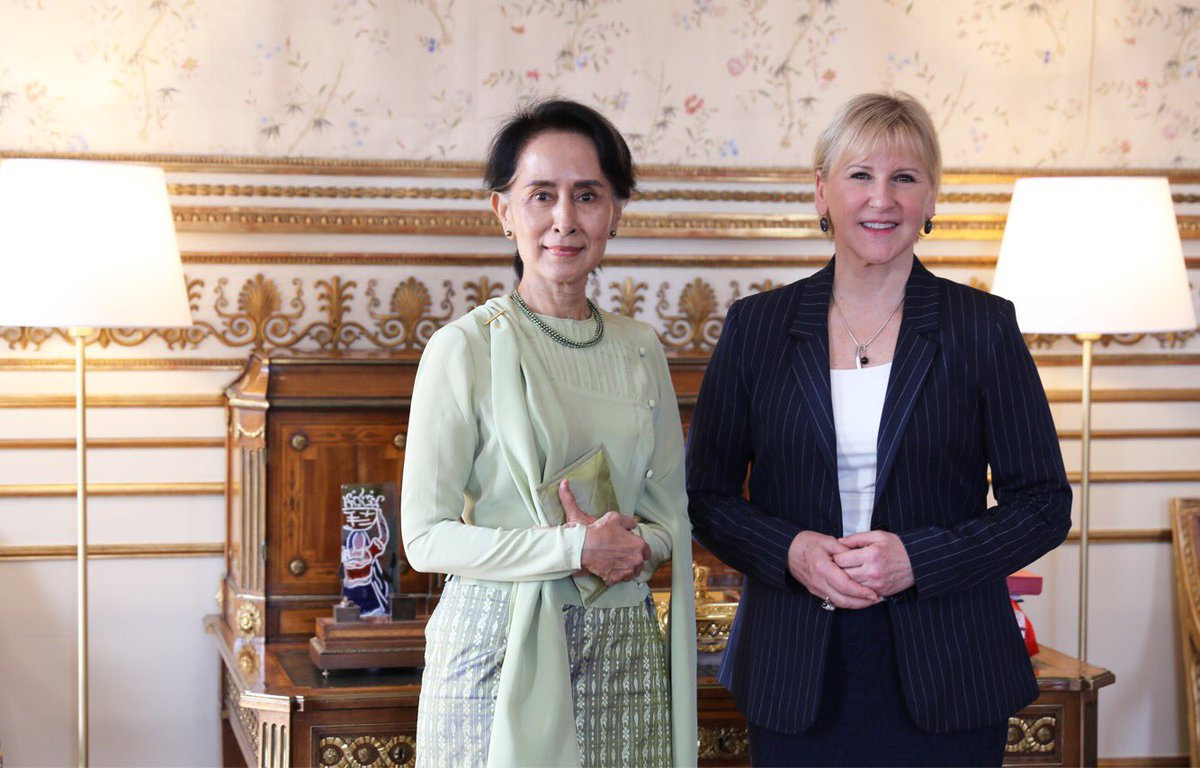 Happy to welcome Aung San Suu Kyi to Sweden. Important discussions on the Myanmar peace process, human rights, climate & security + more.