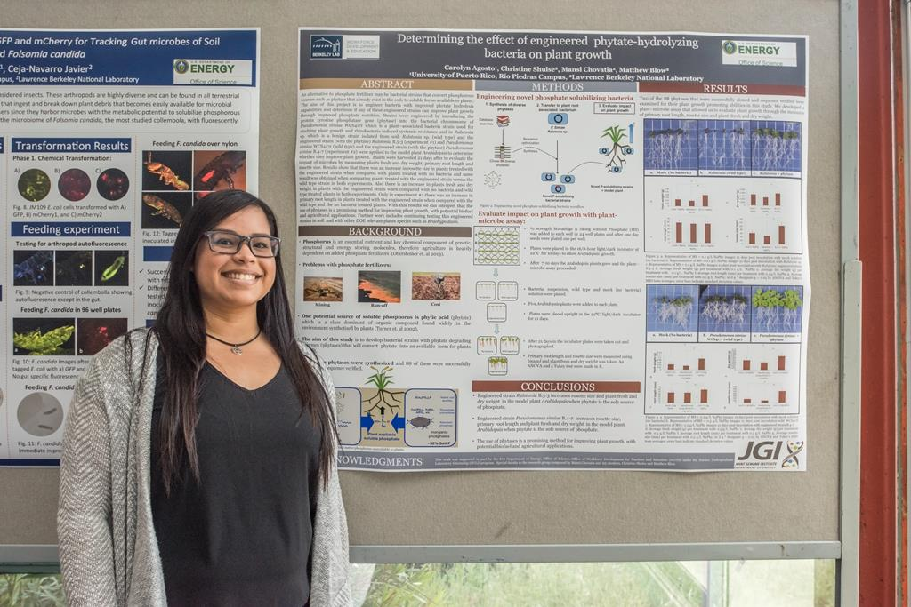 Carolyn Agosto @uprrp interned @doe_jgi to determine the effect of engineered phytate-hydrolyzing #bacteria on #plant growth #BioSciNextGen https://t.co/hvohxFYI0C