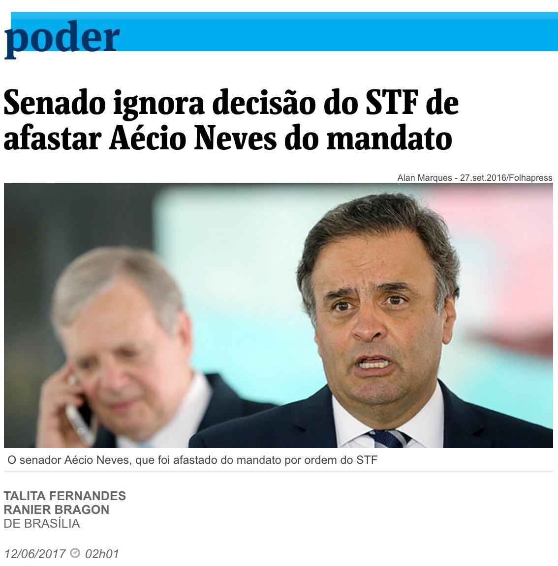 Desobediência ao STF ocorre sem punição alguma. Enquanto isso no Senado a decisão de afastar Aécio do mandato é ignorada solenemente