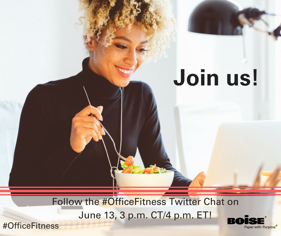 Follow our #OfficeFitness chat with @BoisePapers TOMORROW at 4PM ET You could win $50! #Sweepstakes #ad https://t.co/kdz4F1gLa5
