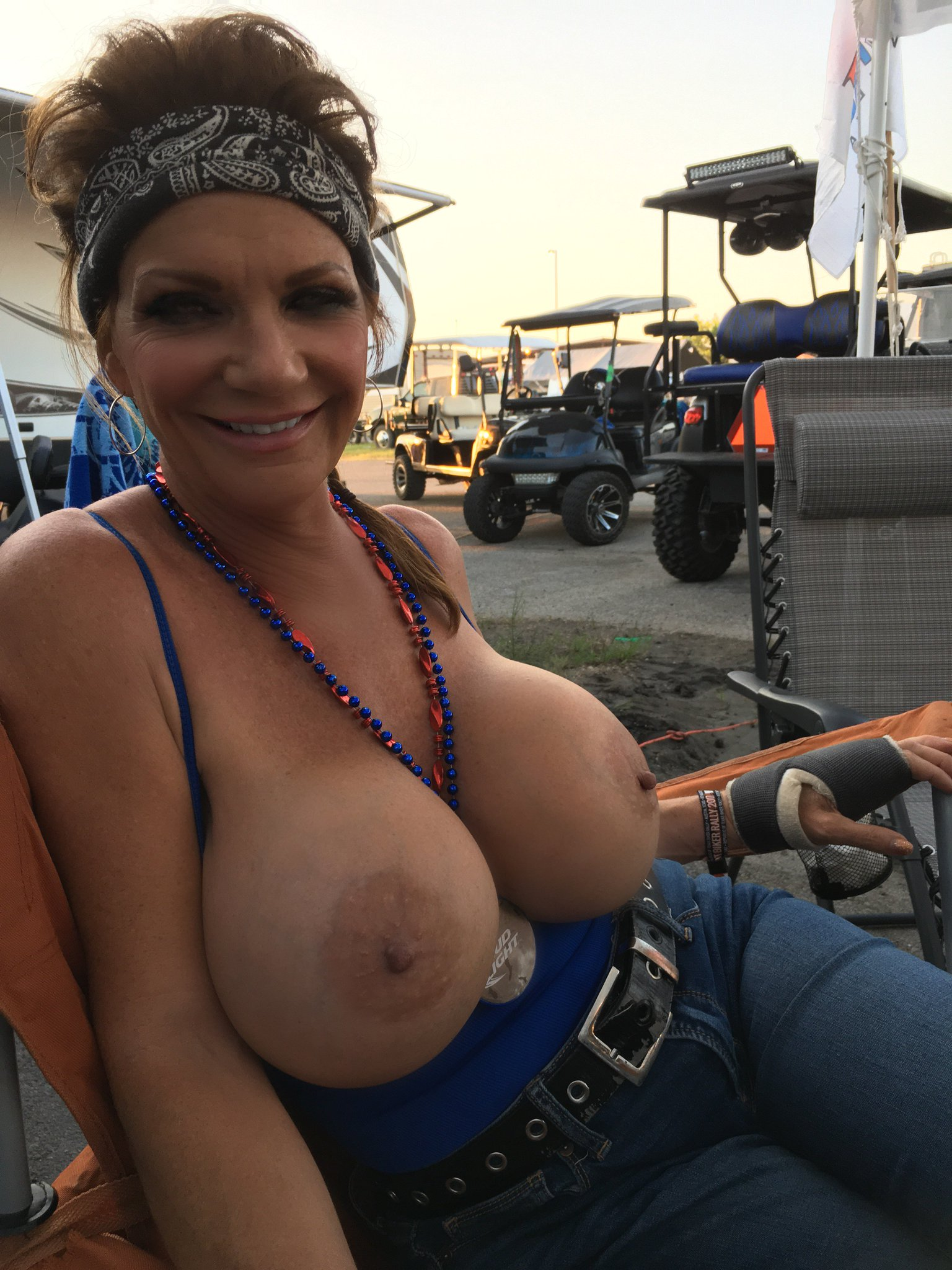 Tits fall out of top