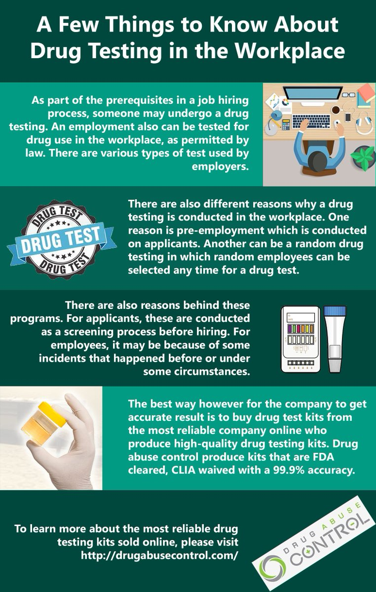 drug testing in the workplace and why it should be legal Some schools, hospitals, and places of employment conduct drug testing there are a number of ways this can be done, including: pre-employment testing, random testing.