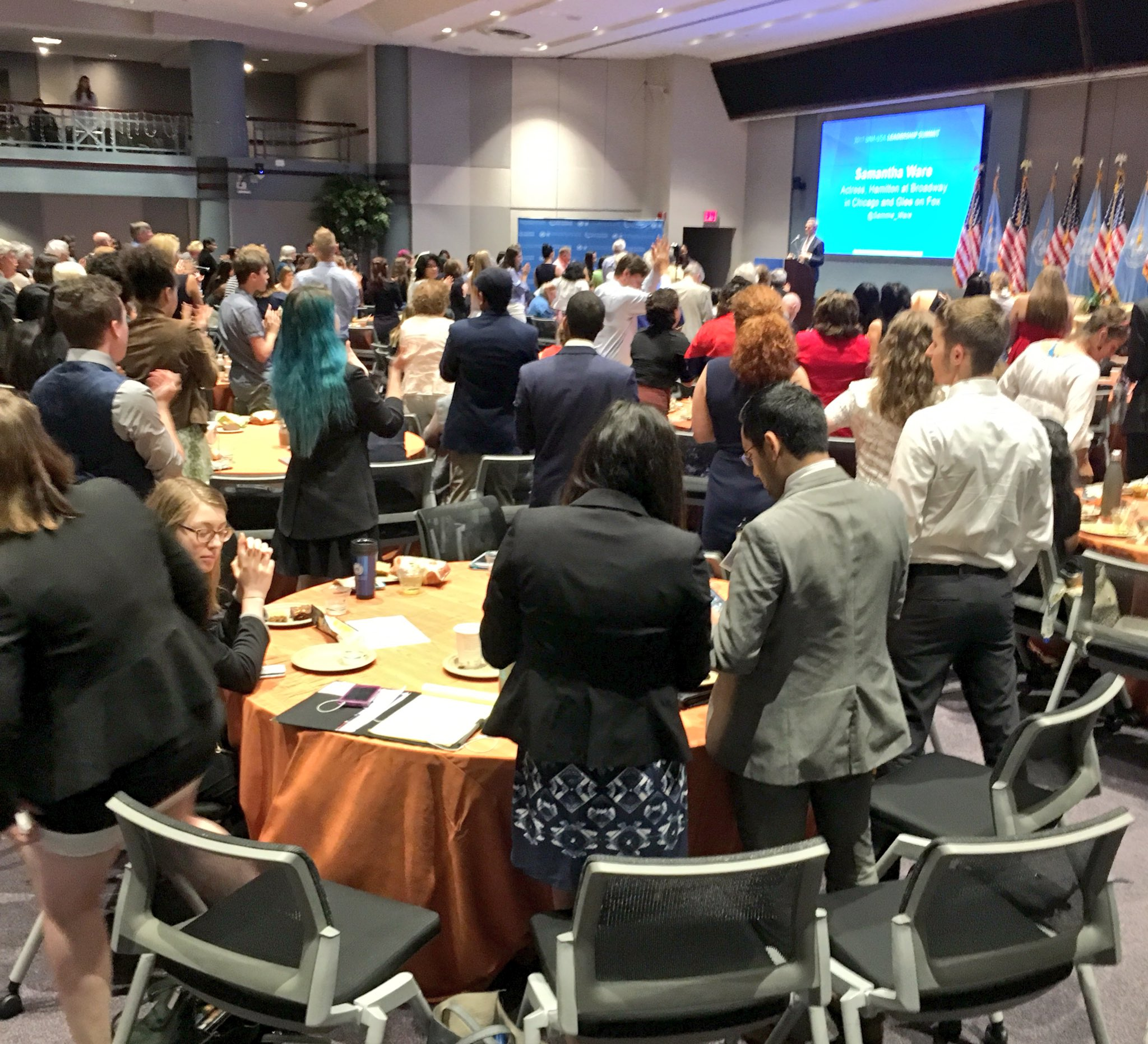 Standing ovation for @Sammie_Ware, an inspiring activist & star of @HamiltonMusical, who shares her story to inspire social change #USAforUN https://t.co/wbiE01i4CT