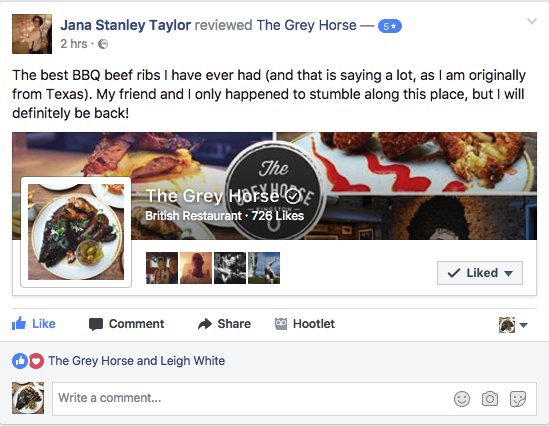 Awesome review of our Beef Rib tday by a lady from Texas #JacobsLadder #BeefRib #KingstonuponThames #smokd #greyhorsekingston #bbqwhiskybeer https://t.co/0k9VgoXQdi