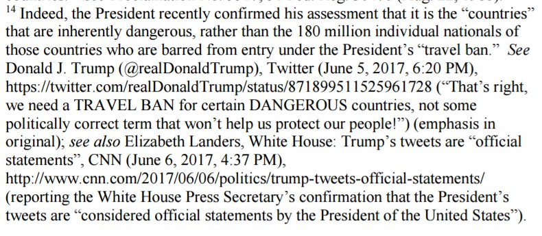 live by the tweet, die by the tweet. From the 9th Cir #TravelBan decision: https://t.co/rlRra5zIym
